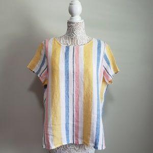Striped 100% Linen Blouse